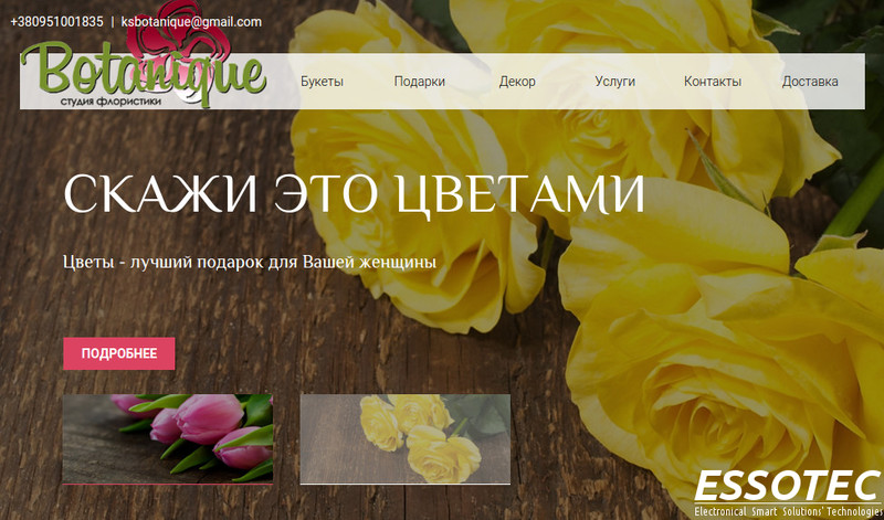 Kherson. E-shops development. Portfolio. E-shop website Botanique